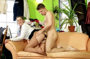 Clothed seamstress gets pissed on and returns the favor by peeing all over man 18690190