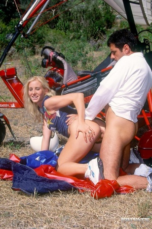 Blonde female goes ass to mouth after fucking freely in the countryside