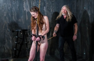 Female sex slave Nora Riley has her ass caned until it bleeds