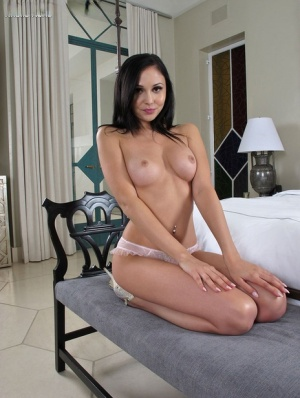 Brunette Ariana Marie slips off see thru lingerie before toying wide open cunt