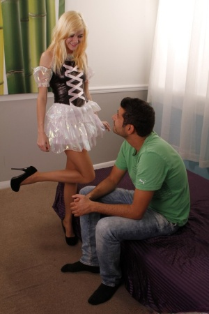 Cute blonde Chloe Foster gives a CFNM footjob in a sexy dress and pantyhose 15906381