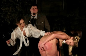 Naked blonde Heidi is caned and flogged by a woman before sex with a man