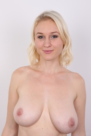 Cute model Petra shows hot saggy tits and meaty cunt at the casting