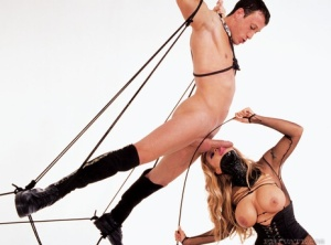 Hot dominatrix gets double fucked after releasing male slaves from restraints