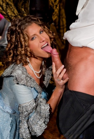 Teen girls Thalia  Jennifer Stone do anal during a 3some in period costumes