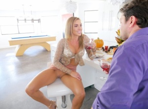 Hot slut Kate Linn gets a facial after lying back to spread her pussy lips