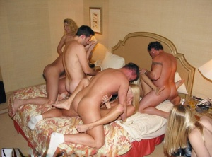 Blonde amateur Naughty Allie headlines an evening of group sex at home
