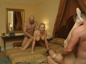 Naughty Allie and her girlfriend swap partners during a foursome fuck
