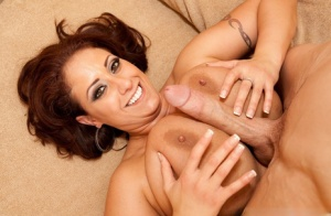 Big boobed female Eva Notty sucks a long cock after tit fucking
