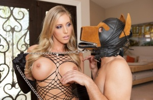 Sexy blonde woman Samantha Saint lets her male sub loose to serve her