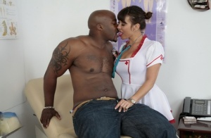 Asian nurse catches a load of cum from a BBC in glass after intercourse
