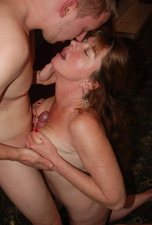 Mature lady Dee Delmar seduces her sons best friend with her tits out