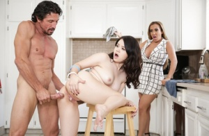 Mom watches as naughty stepdaughter gets a kitchen fuck from hubby