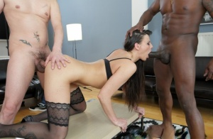 Brunette chick gets triple fucked by white men and a big black dick