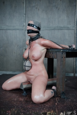 Busty slave Syren De Mer bound oiled for painful BDSM tit torture spanking 76863593