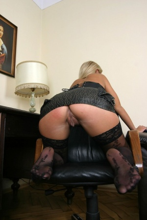 Blue eyed blonde Ines Cudna toys her pussy with micro skirt hitched up