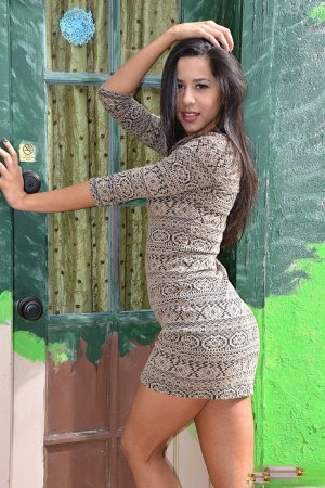 Dark haired Latina girl Bella Quinn models non nude in doorway wearing a dress