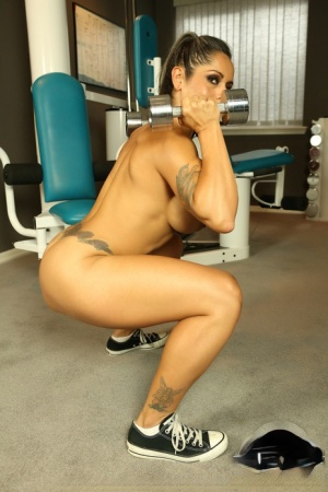 Fitness freak Dani Dupree showing her pierced clitoris working out at the gym