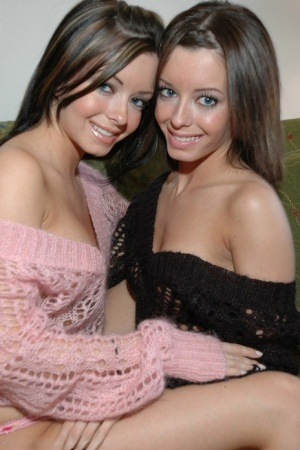 The Taylor Twins model together during a naughty safe for work shoot