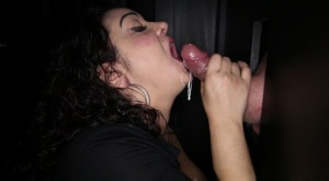 Dark haired BBW blows a cum bubble after sucking cock at a gloryhole 61095311
