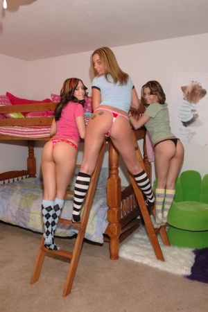 Taylor Twins and a lesbian girlfriend of theirs stack thong clad asses 70225006