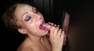 Dirty blonde Stormy sucks off one cock after another during gloryhole action 93601390
