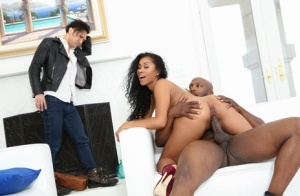Black wife partakes in hardcore sex with a brother afore her caucasian cuckold 28266618