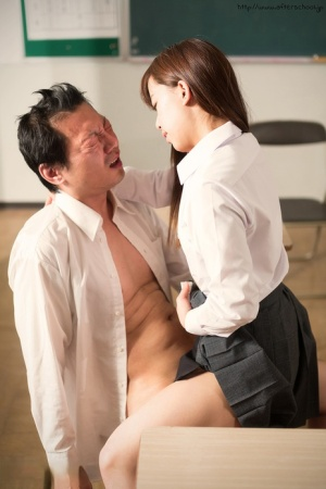 Asian schoolgirl sits on teachers lap  takes his old cock in her young pussy