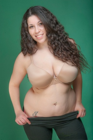 Plump first timer Margaret Abello teasingly exposes her big natural tits