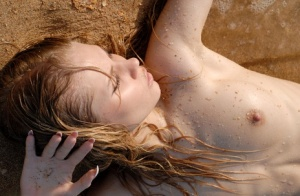 Serious young slut has fun riding a piece of driftwood naked at the beach
