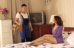 Brunette wife Henessy A finishes her hubby by jerking him with hose clad feet 76118902