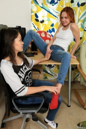 Young girls strip down to their socks for their first lesbian experience