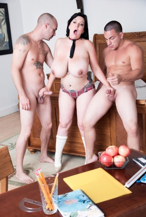 Fat schoolgirl Paige Turner has sexual relations with a couple of boys at once