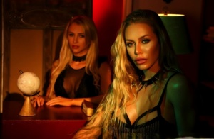 Busty blonds Nicole Aniston & Alix go lesbian after reading from Satanic bible 29293205