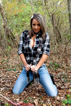 Solo girl Nikki Sims strips to a long scarf and her boots out in the woods