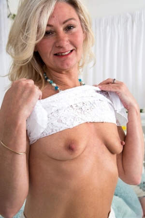 Sexy mature Ellen B in lace lingerie showing her saggy tits  furry snatch