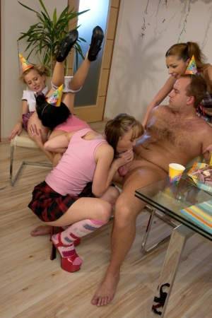 Step dad crashes teen birthday party and gets hot CFNM group sex
