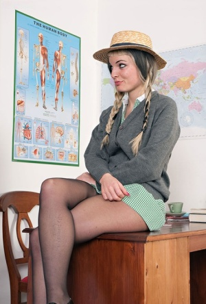 Lesbian schoolteacher swaps her students hose for nylons before eating twat