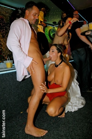Drunk chicks at a bridal reception go crazy over the male strippers