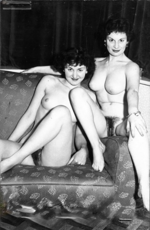 Horny lesbian lovers kissing and petting pussy in hot vintage porno scenes