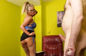 Blonde sex therapist Roxi Lloyd cures a man of ED by stripping to her nylons