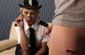 Naughty female police officer Chloe Toy strips in front of a fat dick dude