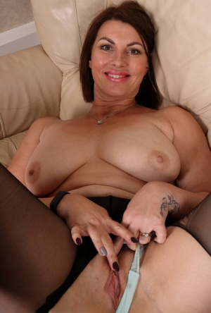 Smiling horny mature Raven in ripped pantyhose showing off her horny beaver 46853730