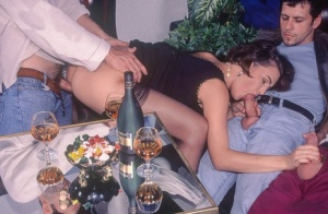 Amateur chick from the 80s gets butt fucked in a gangbang after getting drunk