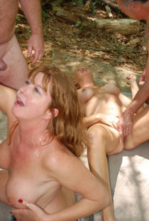 Older American swingers from get fucked and jizzed on in the shade