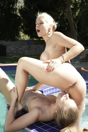 Lesbians April Brooks  Sarah Vandella lick pussy in and out of hot tub