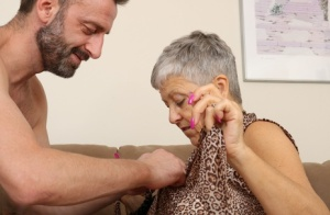 Old lady with grey hair is stripped naked by a much younger man 91926371