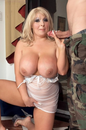 Big boobed wife Angel Gee seduces her military husband in sheer lingerie