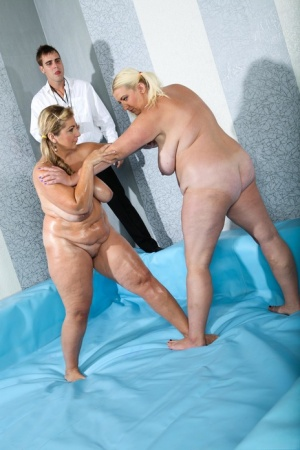 Fat females Monika  Mira wrestle in the nude before fucking the referee 17131430