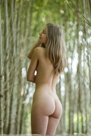 Beautiful blonde wood nymph Nastya H walks naked through the birch forest